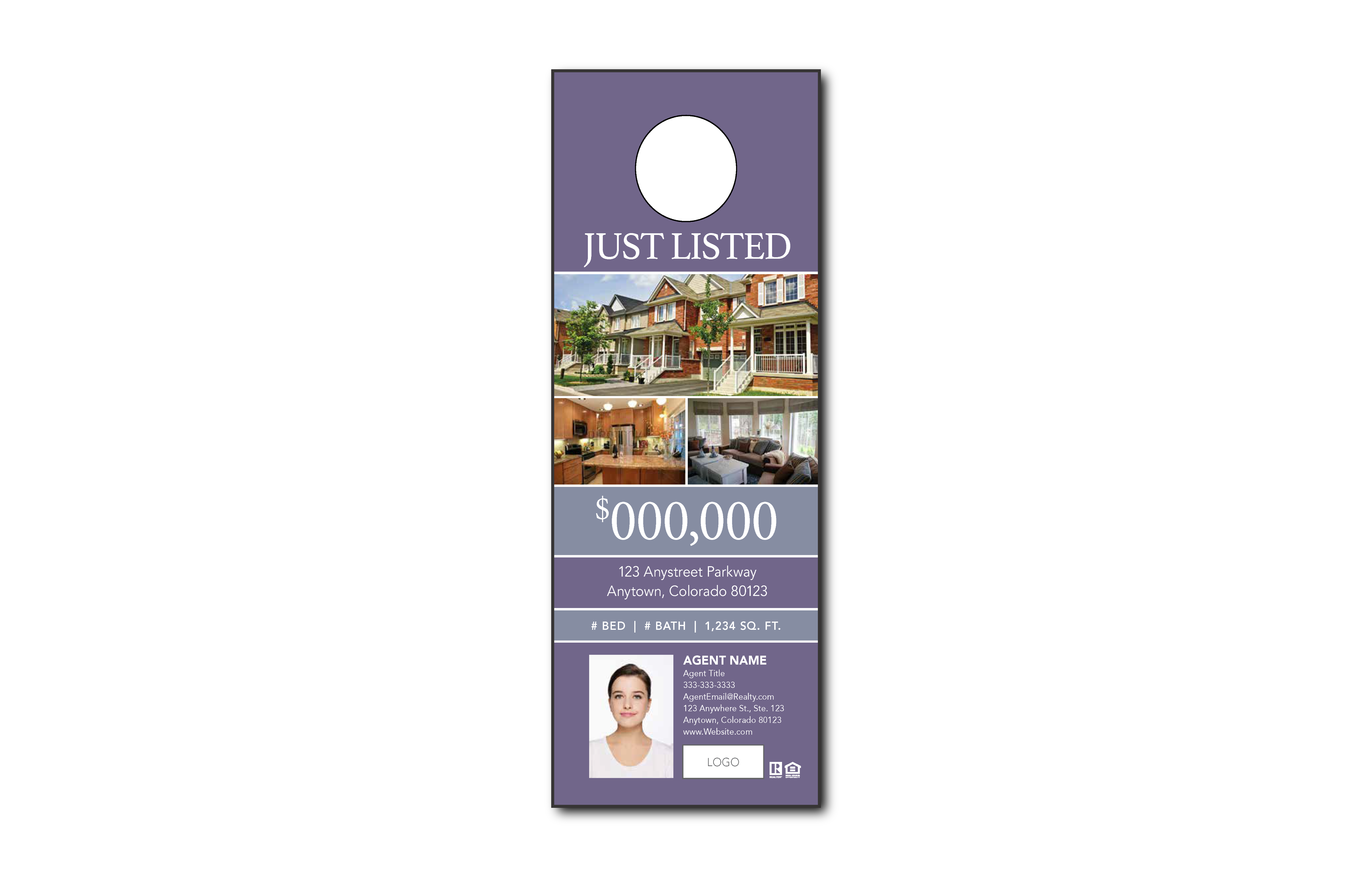Plumb Marketing Doorhanger 2 One Sided Purple - 1709