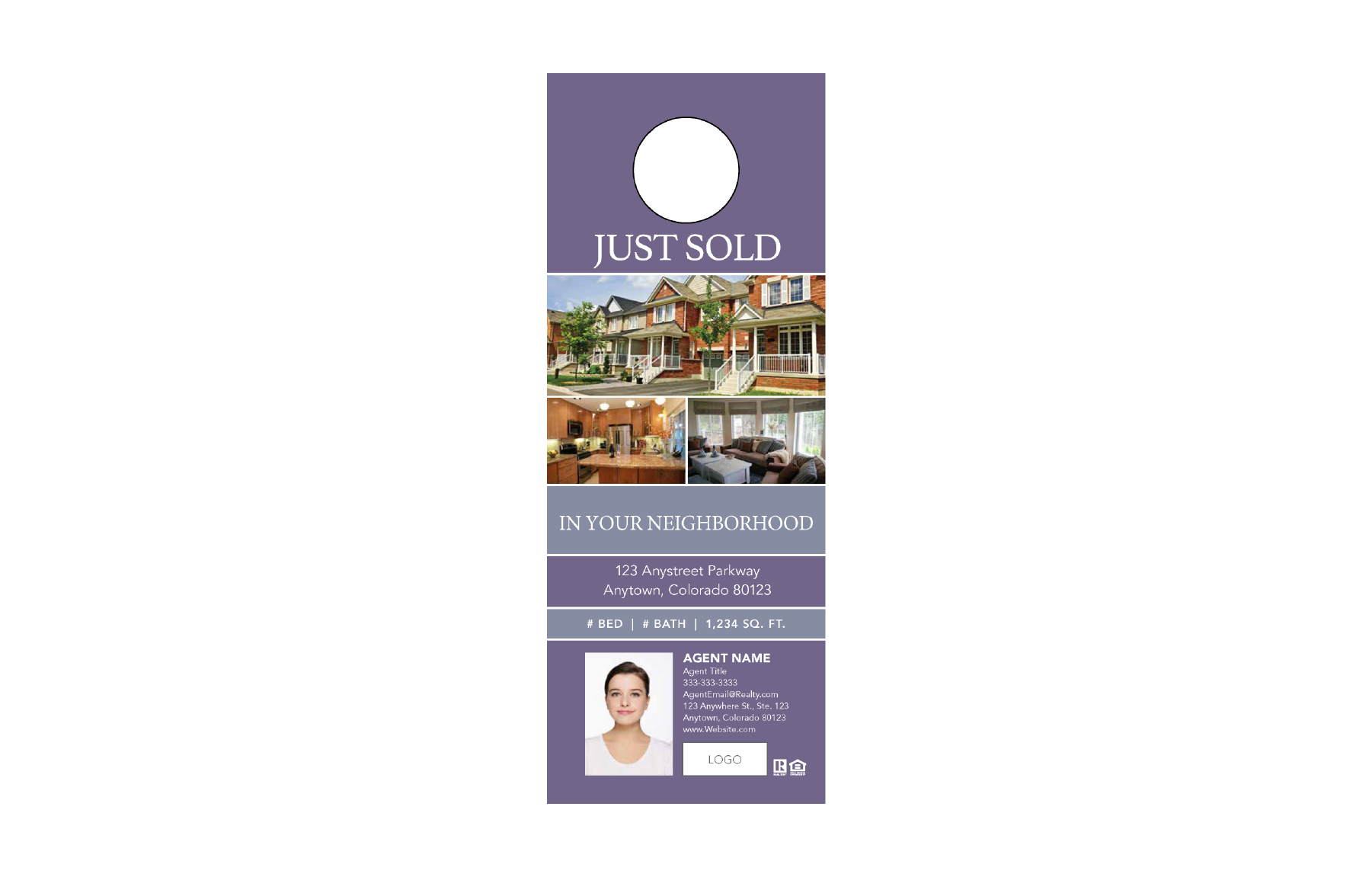 Plumb Marketing Doorhanger 2 One Sided Purple - Just Sold - 1712