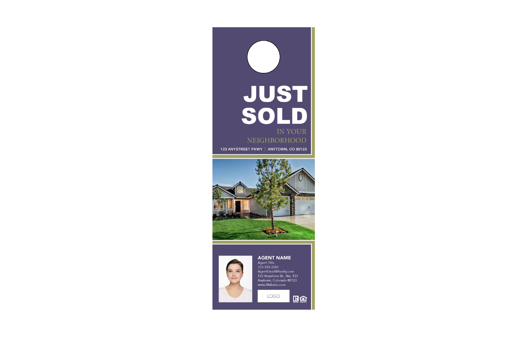 Plumb Marketing Doorhanger 9 One Sided Purple - Just Sold - 1712