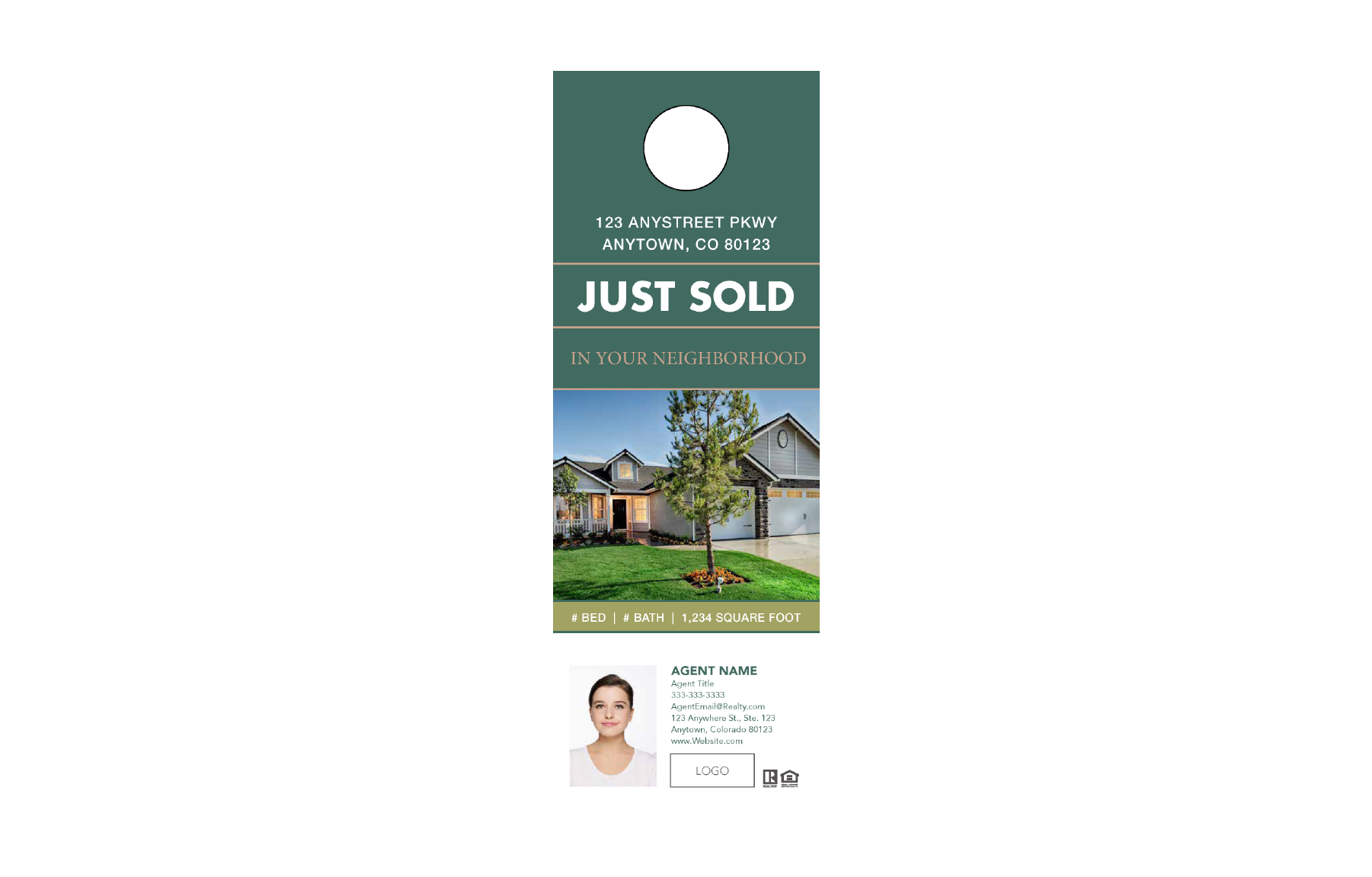 Plumb Marketing Doorhanger 10 One Sided Green - Just Sold - 1712