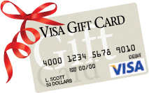visa gift card with red bow