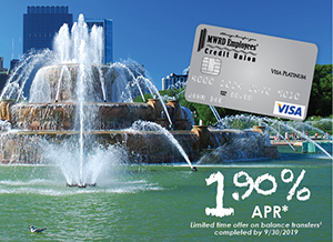 MWRD ECU Visa credit card and special balance transfer rate of 1.90% shown on background photo of buckingham fountain
